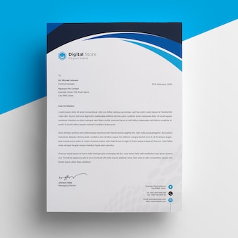 Black  blue professional letterhead template