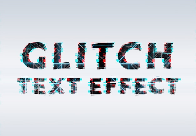 Black blue and red glitch neon text effect