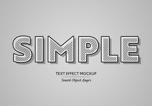 Black bold text effect with white lines mockup