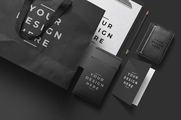 ブラックブランドのパッケージモックアップデザイン
