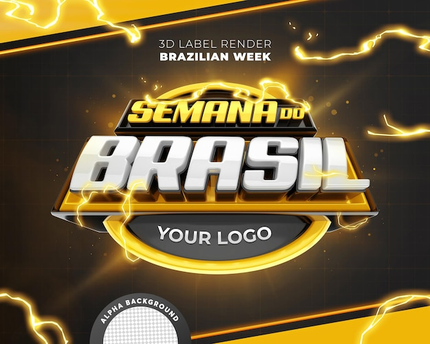 Black brazilian week 3d label  promotional campaign in brazil template design premium psd