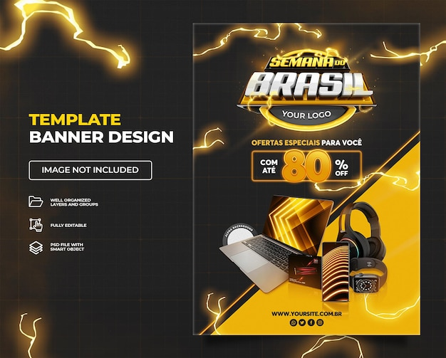 ブラジルテンプレートプレミアムpsdセット01の黒ブラジルウィークバナー垂直プロモーションキャンペーン