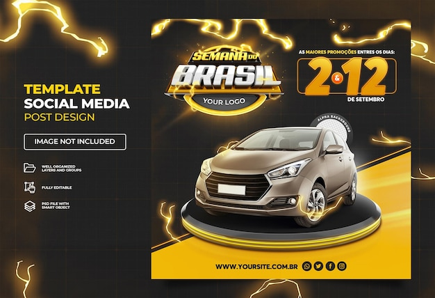 Black brazilian week social media promotional campaign in brazil template premium psd set 01