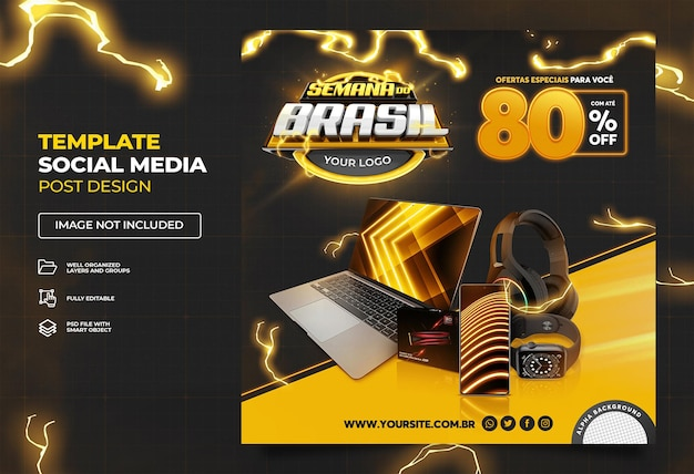 黒ブラジルウィークブラジルでのソーシャルメディアプロモーションキャンペーンテンプレートプレミアムpsdセット02