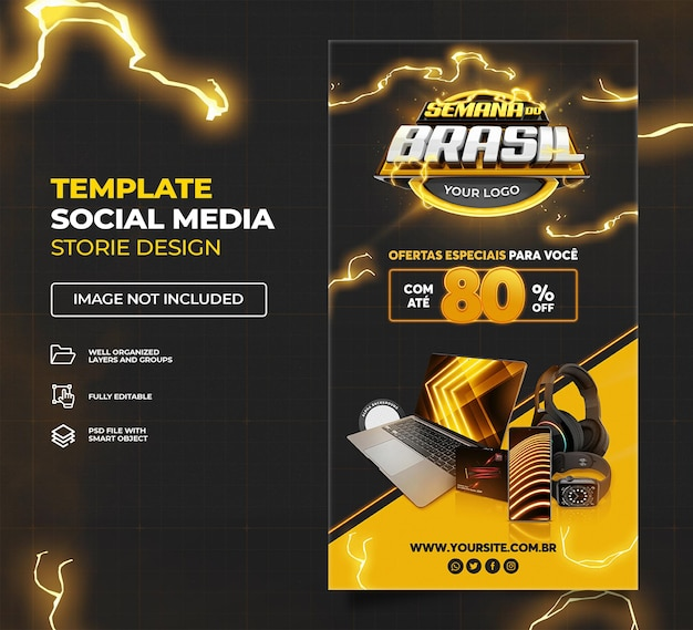 黒ブラジルウィークソーシャルメディアストーリーブラジルテンプレートプレミアムpsdセット02のプロモーションキャンペーン