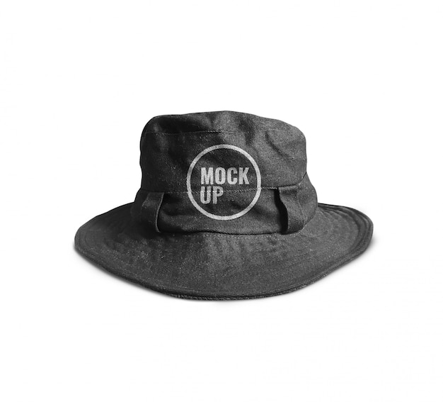 Black bucket hat mockup
