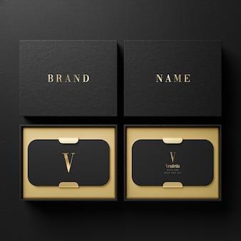 브랜드 아이덴티티 프레젠테이션을위한 블랙 명함 홀더 로고 모형 3d 렌더링