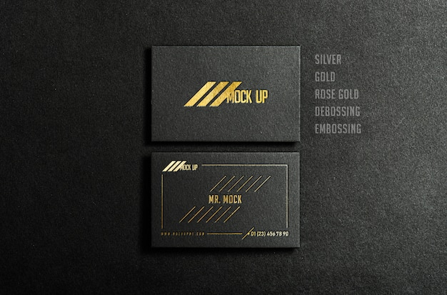 Black business card mock up with golden and silver foil embossing and debossing effect, premium psd