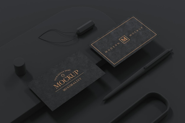 Black business card mockup design in 3d rendering