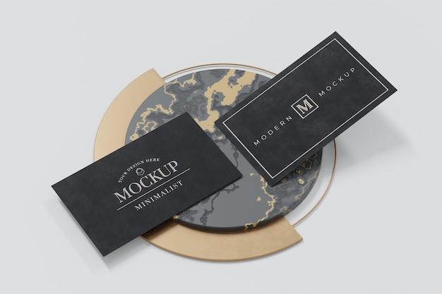 Black business card mockup design in 3d rendering