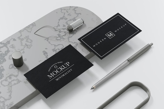 3d 렌더링에 검은 명함 모형 디자인