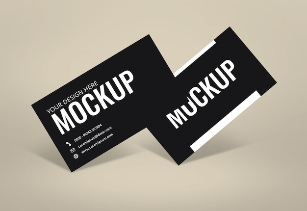 Black business card mockup light background