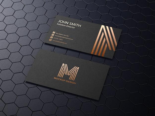 Макет черной визитной карточки на фоне шестиугольника