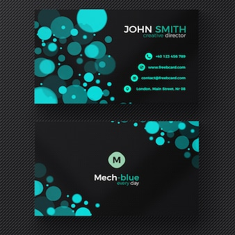 Black business card with blue circles