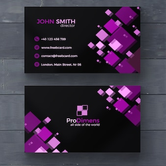 Black business card with purple squares