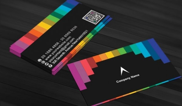 Black business card with rainbow stripes