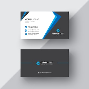 Black business card with white and blue details