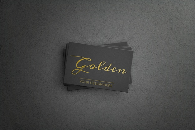 Black bussiness card with golden design
