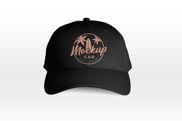 Black cap front view mockup