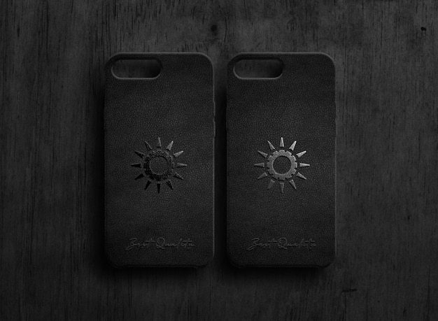 Black case luxury logo mockup