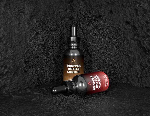 Black cbd oil cosmetic bottle label mockup