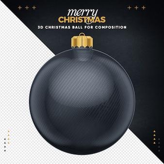 Black christmas ball for composition