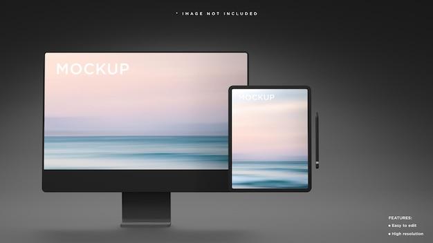 現代の公式プレゼンテーション3dレンダリング用の黒い粘土のデスクトップとタブレットのモックアップ