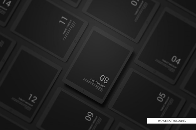 Black clay devices tablet mockup