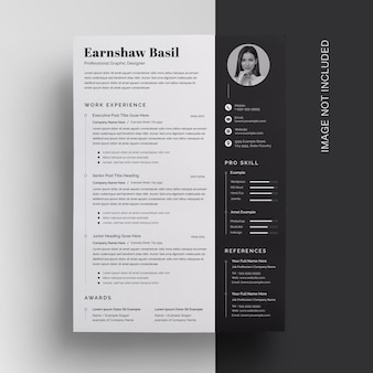 Black clean sidebar resume template