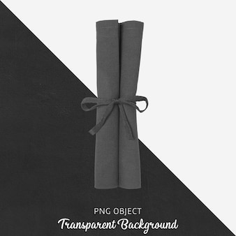 Black cloth napkin on transparent