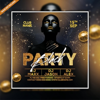 Black club party flyer template or social media post