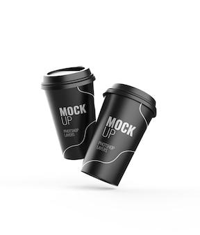 Черная чашка кофе с горячим кофе 3d-рендеринг реалистично