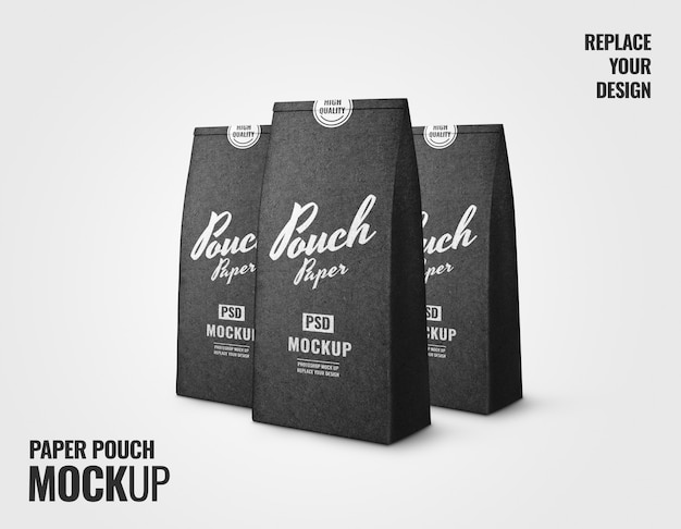 Black coffee pouch paper craft realistic mockup