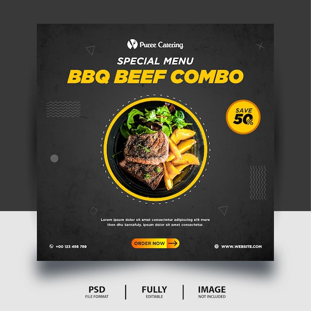 블랙 컬러 바베큐 쇠고기 콤보 소셜 미디어 게시물 배너