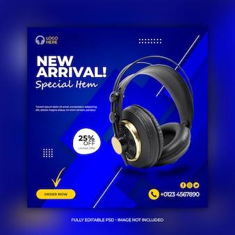 Black color headphone brand product social media instagram banner Premium Psd