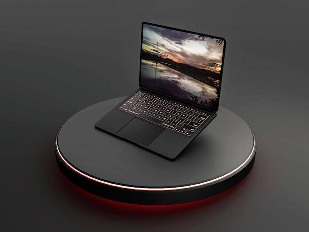 네온 효과가 있는 검은색 노트북 모형