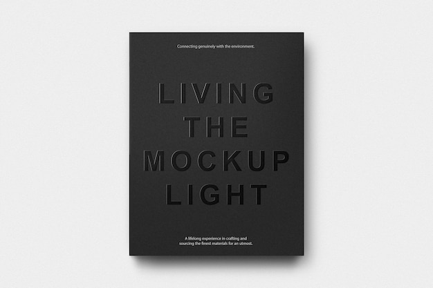 Black cover book embossed logo mockup