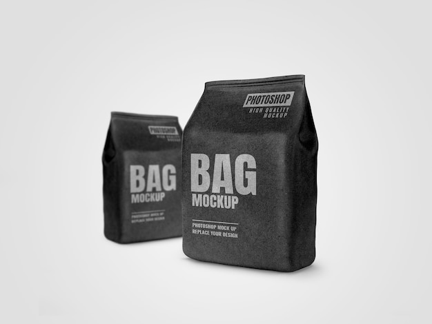 Black craft pouch advertising mockup realistic