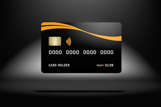 Black credit card mockup in 3d rendering