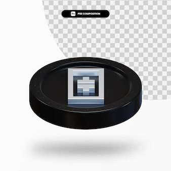 Черная монета криптовалюты 3d-рендеринга изолированные