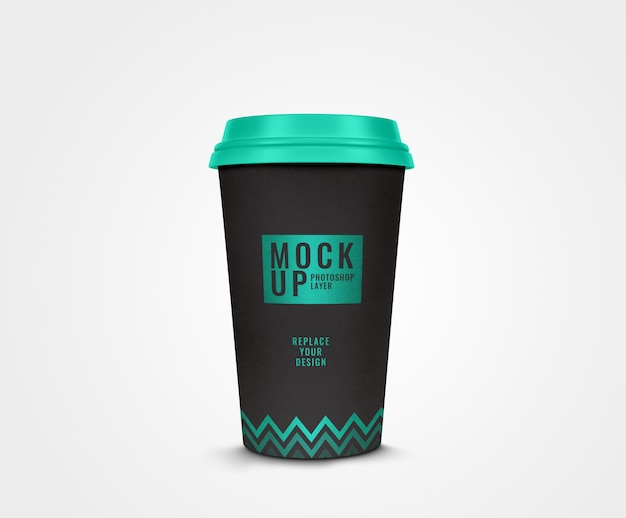 Black cup of coffee modern design mockup realistic