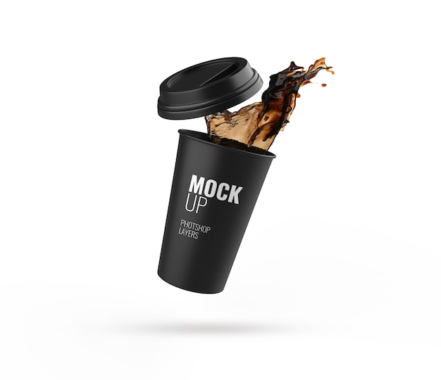 Black cup splash isolated mockup 3d rendering realistic