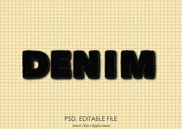 블랙 데님 텍스트 효과 프리미엄 PSD 파일