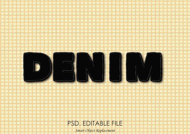 Black denim text effect