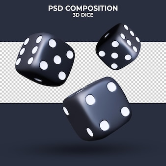 Black dices on transparent background 3d rendering isolated