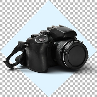 Черная цифровая зеркальная камера на прозрачном фоне