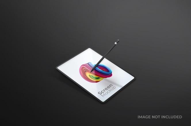 고립 된 펜 이랑 블랙 디지털 태블릿 화면