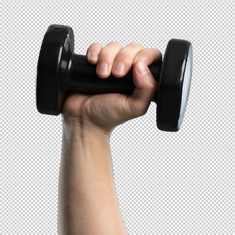 Black dumbbell on white background