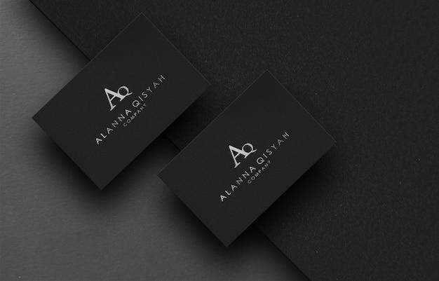 Black elegant business card mockup