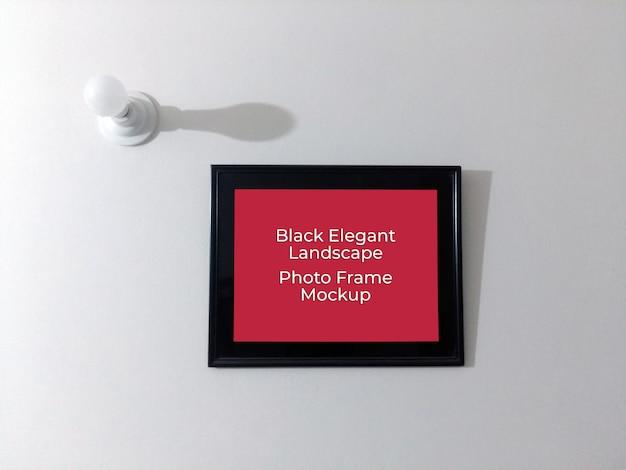 Black elegant landscape wall photo frame mockup